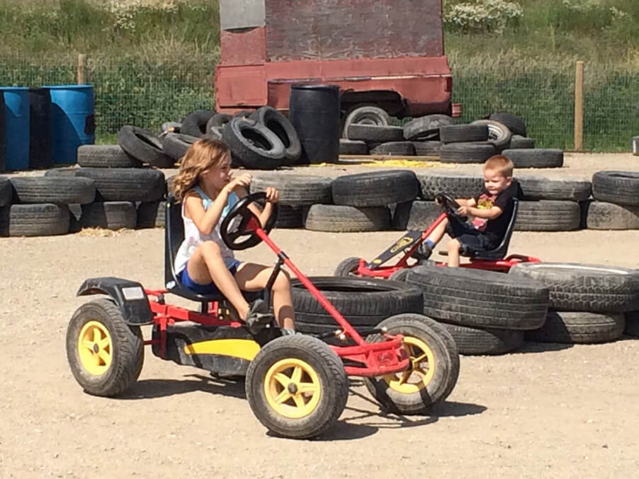 kids on pedal carts in calgary racing